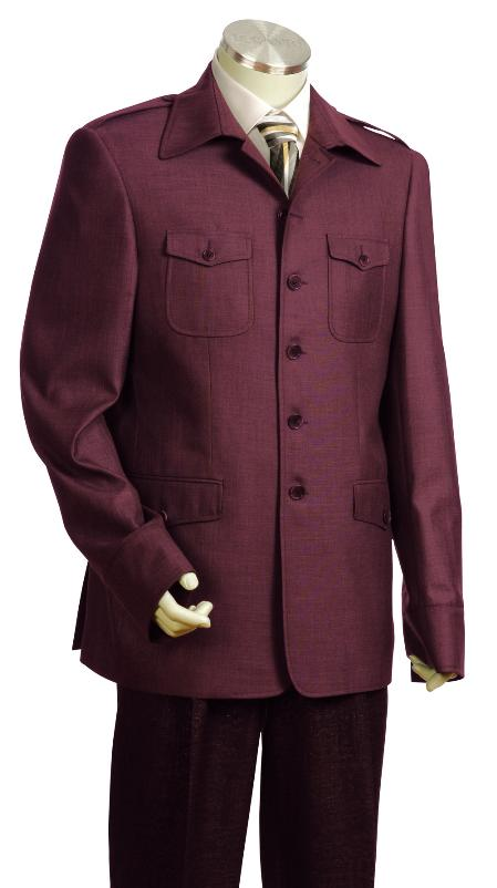 SKU#GT9560 Mens Fashionable Safari Military Style Wine Zoot Suit
