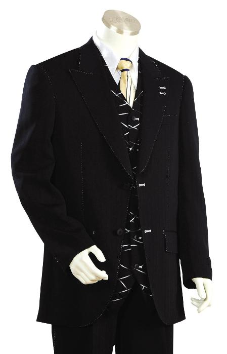 SKU#GU8267 Mens Fashionable Black Zoot Suit $175