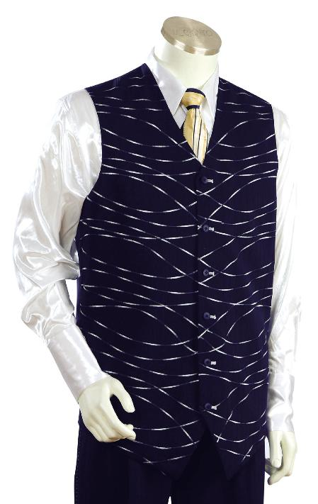 SKU#LK7836 Mens Stylish Navy Vest Zoot Suit $175