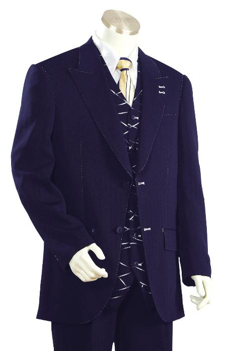 SKU#HD9345 Mens High Fashion Navy Zoot Suit