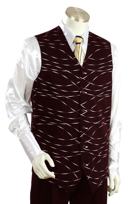 SKU#BT6723 Mens Luxurious Wine/Burgundy Vest Zoot Suit + Shirt + Tie $175