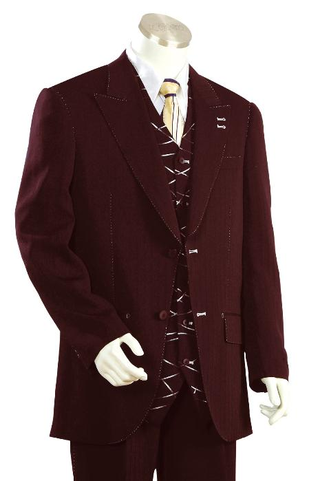 SKU#KT8913 Mens High Fashion Wine Zoot Suit $225