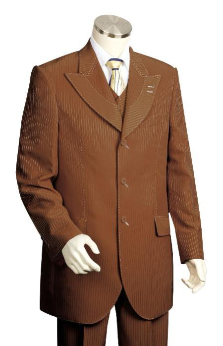 SKU#BV7288 Mens  3 Piece Vested Brown Unique Exclusive Fashion Suit $225