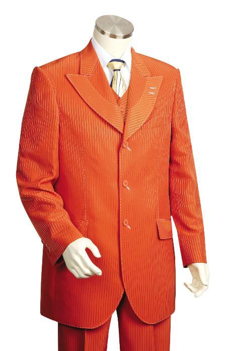 SKU#BS8256 Mens Stylish 3 Piece Vested Burned Orange Zoot Suit