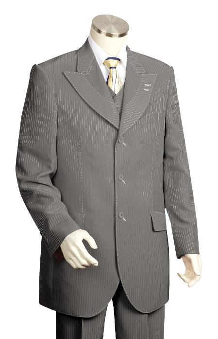 SKU#FR7834 Mens 3 Piece Vested Charcoal Fashion Zoot Suit $175