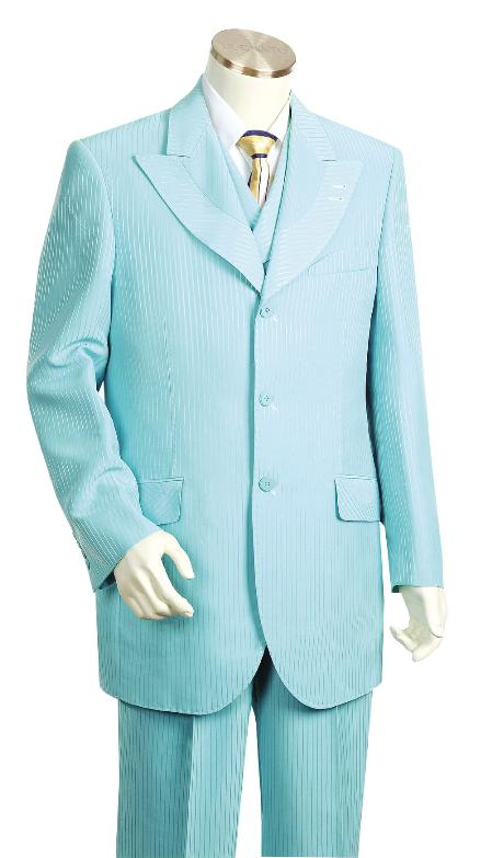 SKU#GV6729 Mens 3 Piece Fashionable Turqoise Zoot Suit $175