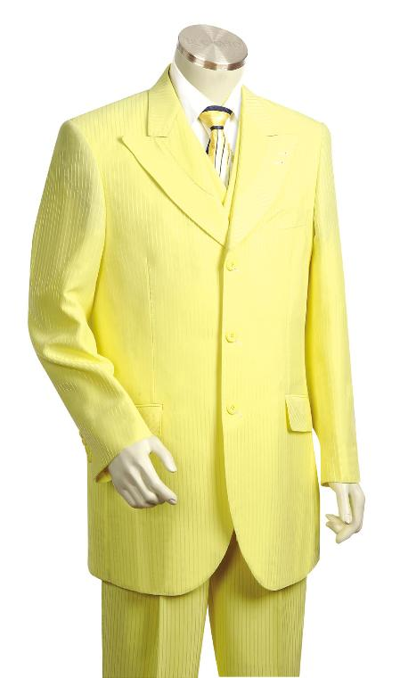 SKU#KR4545 Mens 3 Piece Vested Yellow Fashion Zoot Suit $175