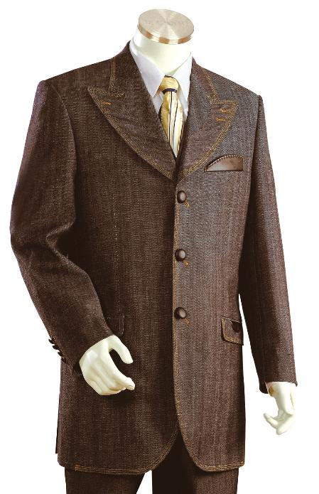 SKU#FL8920 Mens Fashionable 3 Button Zoot Denim Fabric Suit $225
