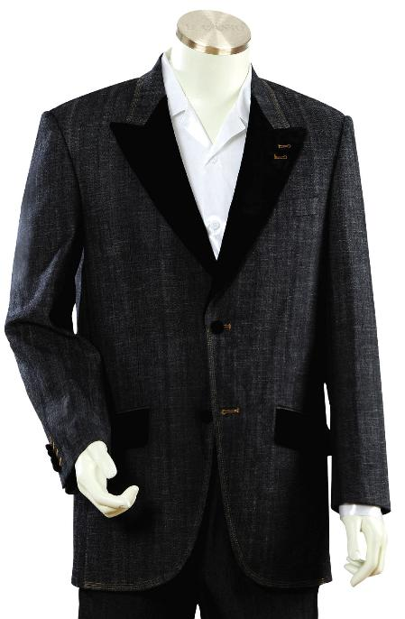 SKU#HT702 Mens Luxurious Black Zoot Denim Fabric Suit $225