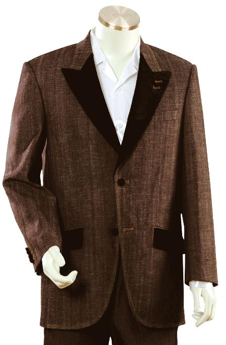 SKU#NR5679 Mens Stylish Brown Fashion Unique Tuxedo Denim Cotton Peak Lapel