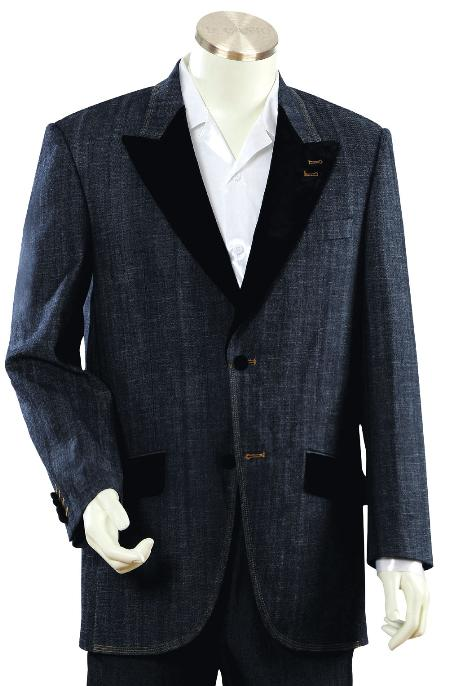 SKU#GU8937 Mens High Fashion Navy Zoot Denim Fabric Suit $225