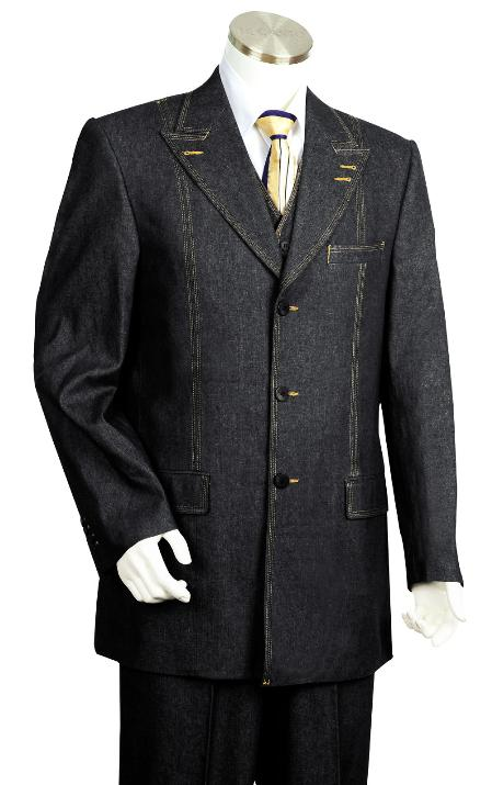 SKU#YK5245 Mens 3 Piece Vested Black Zoot Denim Fabric Suit