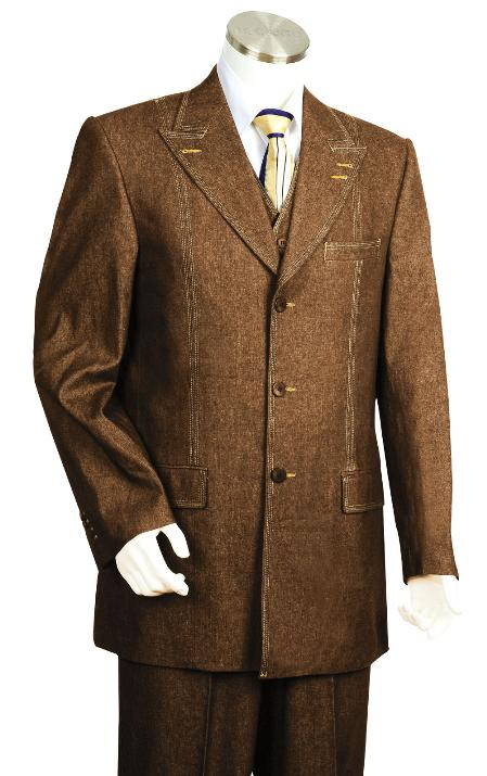 SKU#GJ7834 Mens 3 Piece Vested Brown Unique Exclusive Fashion Denim Fabric Suit $225