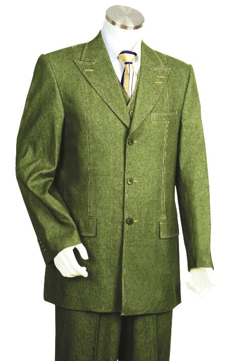 SKU#BN3402 Mens 3 Piece Vested Olive Unique Exclusive Fashion Denim Fabric Suit $225