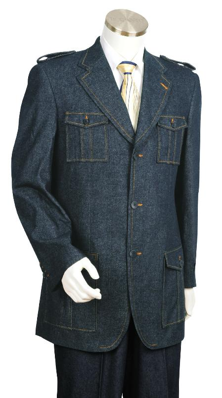 SKU#GL5055 Mens Stylish Blue Fashion Zoot Denim Fabric Suit $225