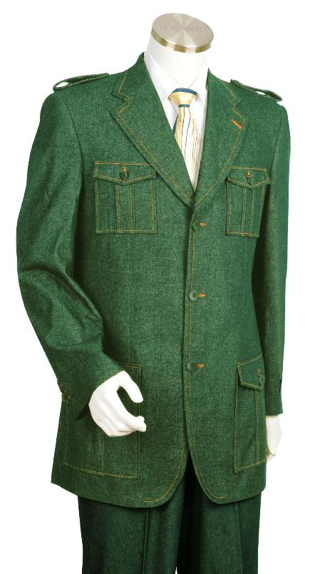 SKU#LF7392 Mens High Fashion Olive Zoot Denim Fabric Suit $199