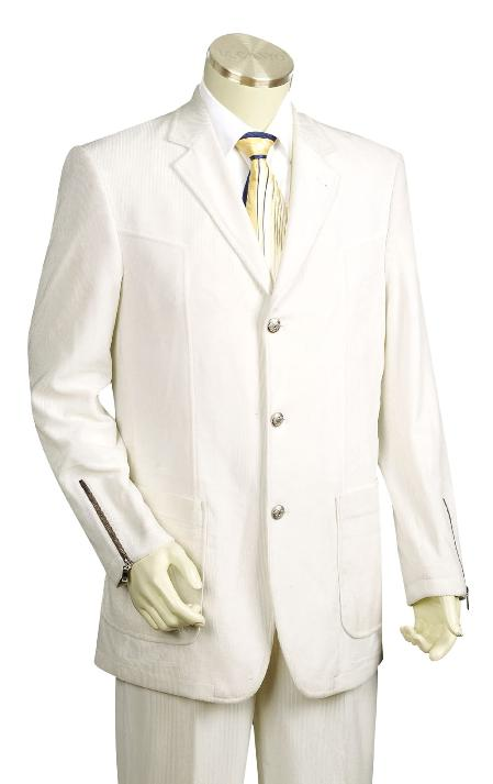 SKU#FY6610 Mens 3 Button Fashion White Zoot Suit