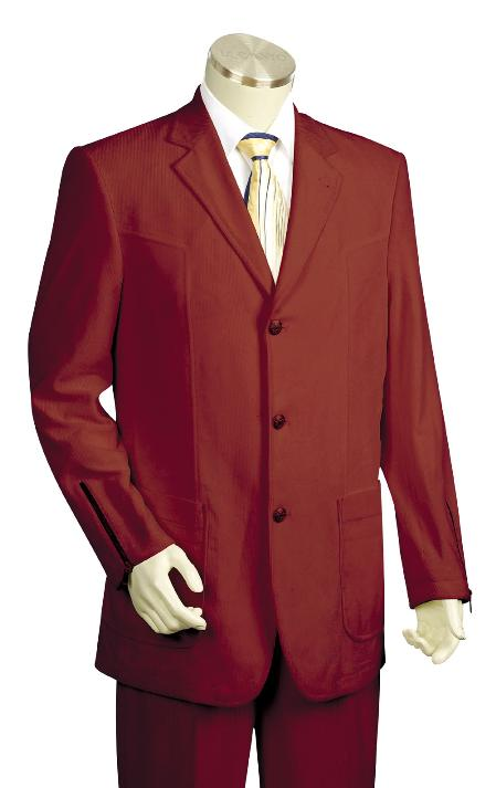 SKU#KH4500 Mens 3 Button High Fashion Wine Zoot Suit