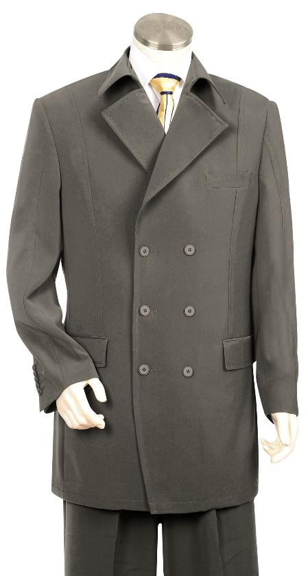 SKU#RB8300 Mens Triple Breasted 6 button Double Breasted Fashion Suit Charcoal