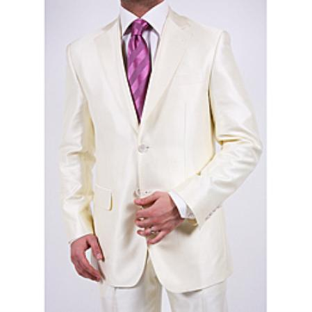 SKU#RG7620 Ferre Men's Shiny Off-white Two-button Two-piece Slim Fit Suit
