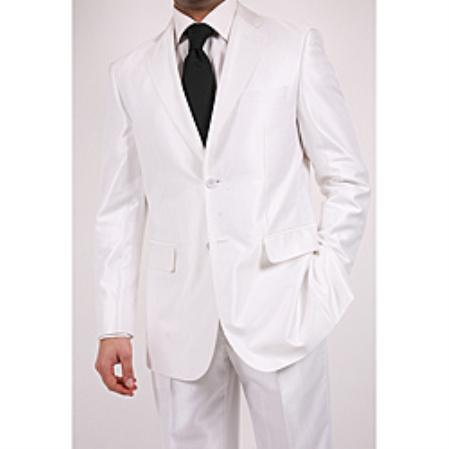 SKU#LH8765 Ferre Mens Shiny White Two-button Two-piece Slim Fit Suit $149