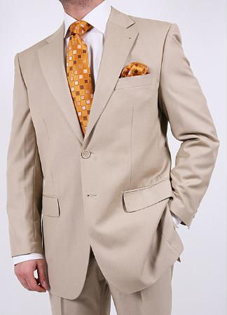 SKU#TF7200 Mens High Fashionable Tan ~ Beige Two Piece Suit