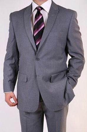 SKU#FJ7829 Mens Grey Two-button Peak Lapel Suit $139