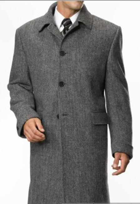 SKU#PH7825 Mens 3 Button Fashionable 3/4 Length Topcoat Black $249