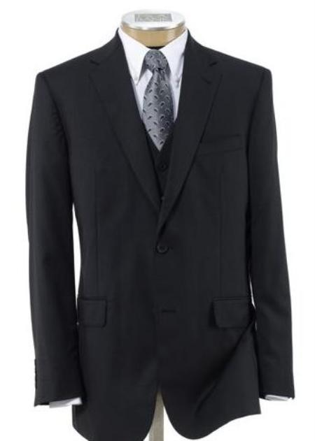 SKU# BER_TZ20 Mens 2 Button Wool Vested Suit with Pleated Trousers Black