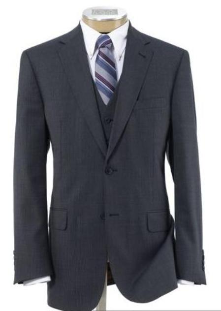 SKU# BER_TZ21 Mens 2 Button Wool Vested Suit with Pleated Trousers Grey