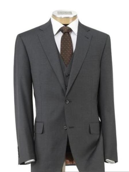 SKU# BER_TZ23 Mens 2 Button Wool Vested Suit with Pleated Front Trousers Mid Grey