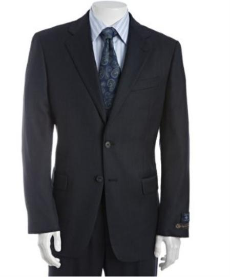 SKU# BER_TZ24 Mens Navy Birdseye Super 120s Wool 2-Button Suit With Single Pleated Pants