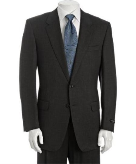 SKU# BER_TZ28 Men's Dark Grey Super 110s Wool 2-Button Suit with Single Pleated Trousers