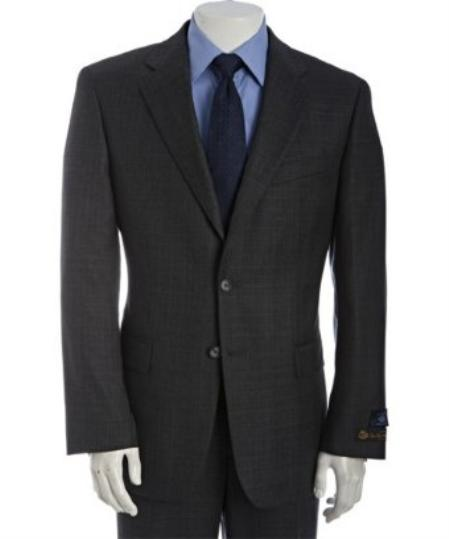 SKU# BER_TZ29 Mens Charcoal Subtle Plaid Super 120s Wool 2-Button Suit With Single Pleated Pants $275