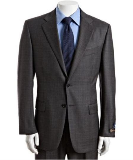 SKU# BER_TZ34 Mens Grey Plaid Check Super 120s Wool 2-Button Suit with Single Pleated Pants $175