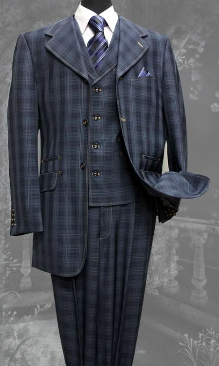 SKU#FY8256 Mens 3 Piece Navy Unique Exclusive Fashion Suit $225
