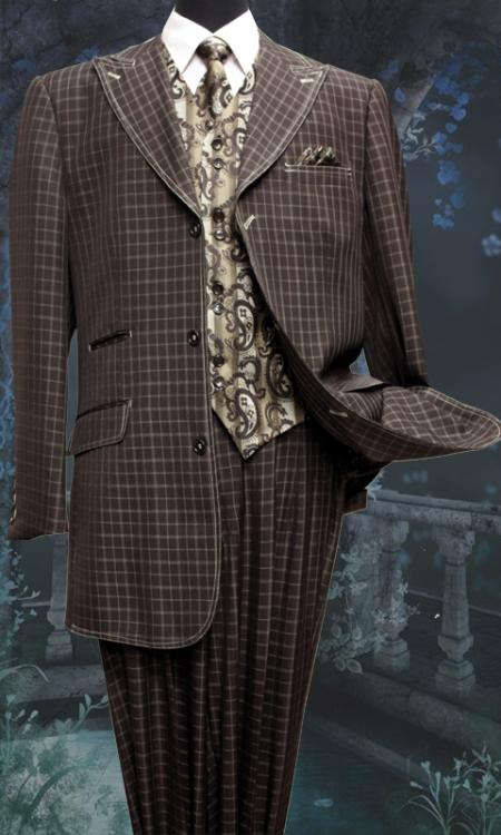 SKU#KU9870 Men's 5 Piece Fashion Suit Including Matching Vest, Tie & Hankie Brown $200