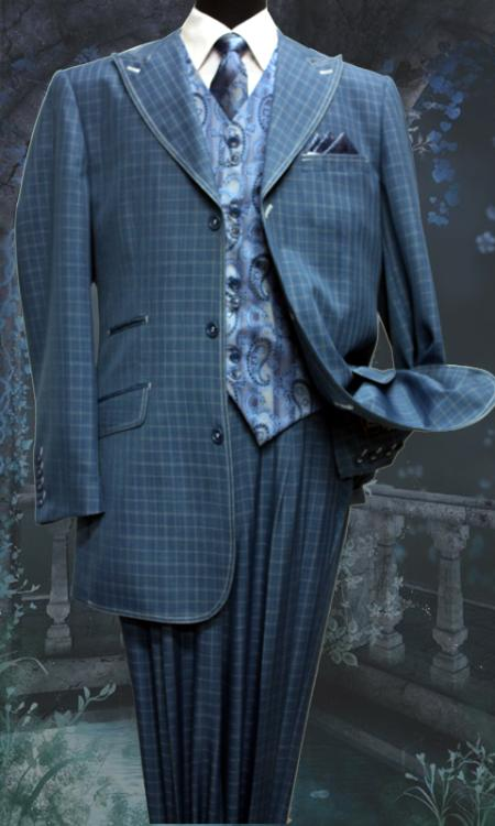 SKU#MH5649 Men's 5 Piece Fashion Suit Including Matching Vest, Tie & Hankie Teal $200
