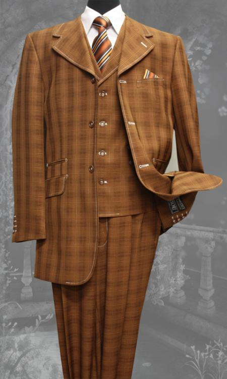 SKU#JF7745 Mens 3 Piece Fashion Zoot Suit Brick $200