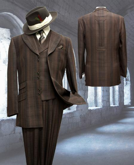 SKU#JV6600 Mens Stylish 3 Piece Fashion Zoot Suit Coffee $200