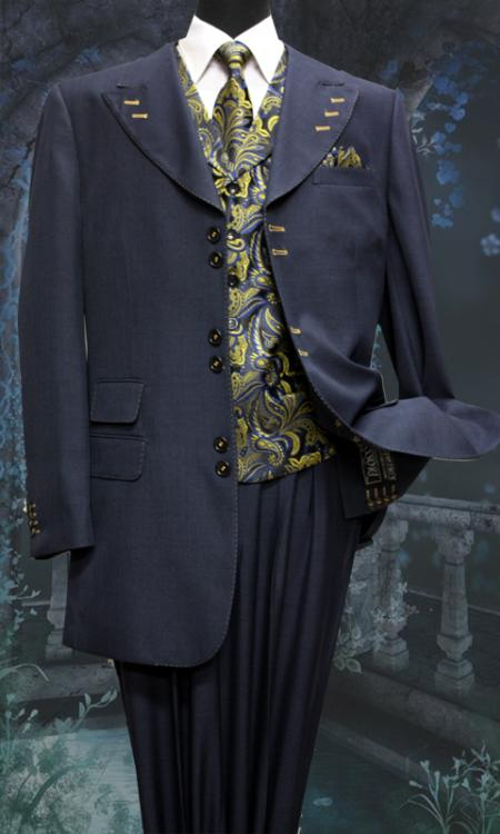 SKU#EH6752 Mens Navy 5 Piece Unique Exclusive Fashion Suit Including Matching Vest, Tie & Hankie $225