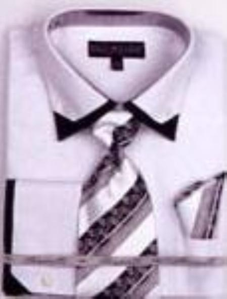 MensUSA.com Mens Double Collar French Cuff Shirts with Cuff Links White(Exchange only policy) at Sears.com