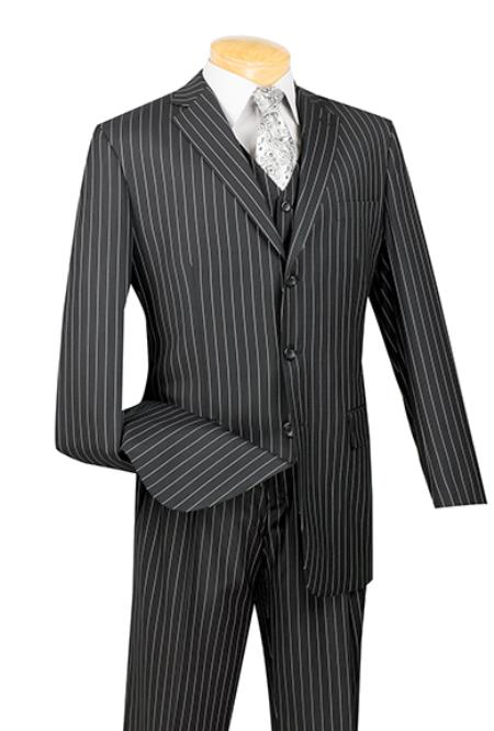 Men's Vintage Style Suits, Classic Suits 3 Piece Black Bold Chalk Pinstripe Vested Suit Mens $165.00 AT vintagedancer.com