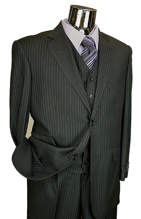 SKU# BER_TZ36 Mens Black Pinstripe 3 Piece 2 Button Italian Designer Suit