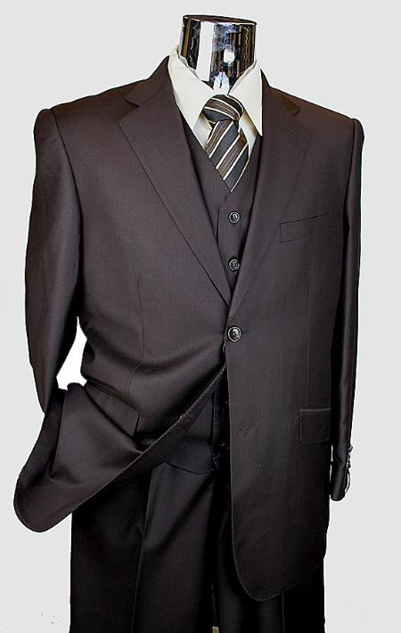 SKU# BER_TZ38 Mens Brown 3 Piece 2 Button Italian Designer Suit $175