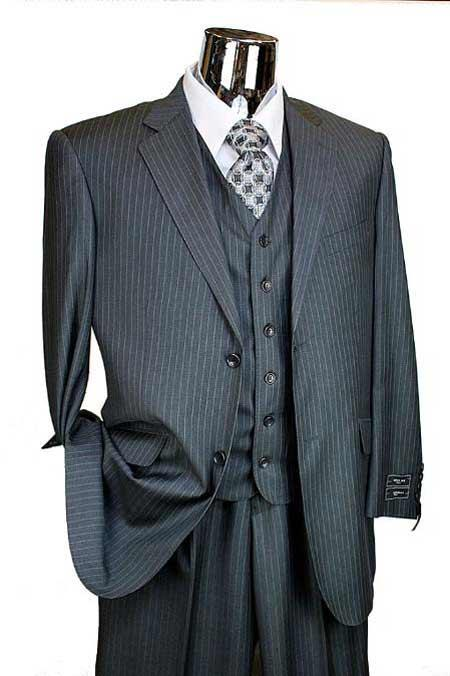 Mens Charcoal Pinstripe 3 Piece 2 Button Italian Designer Suit Flat Front No PleatedPa