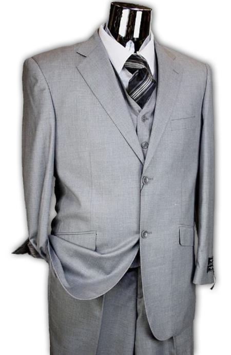 SKU# BER_TZ41 Mens Light Grey 3 Piece 2 Button Italian Designer Suit