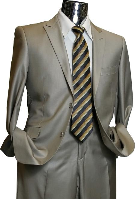 SKU#KH5280 Mens Slim Cut Italian Design Tan 2 Button Sharkskin Shiny Flashy Suit $189