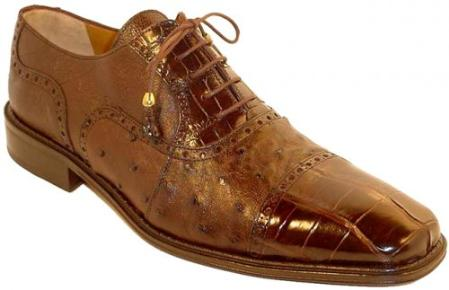 SKU#EH6344 Mens Genuine Alligator / Ostrich Shoes Chocolate $519