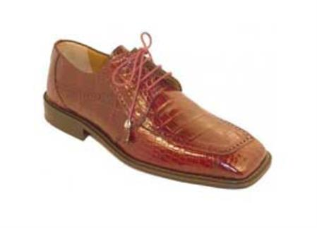 SKU#UA1830 Mens Burgundy ~ Maroon ~ Wine Color Genuine Alligator Shoes
